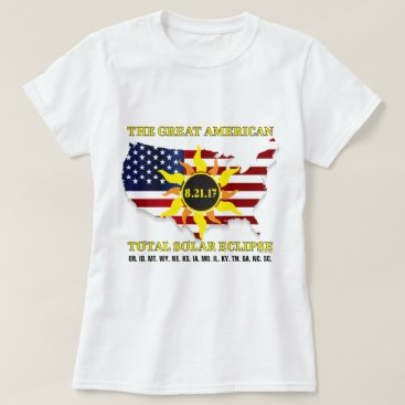 Beach Themed USA Stars and StripesTotal Solar Eclipse of 2017 T-Shirt