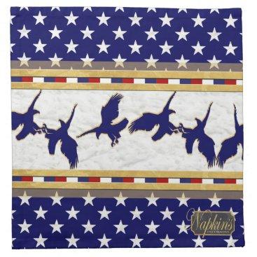 USA Themed USA Stars Blue Eagle Gold Cloth Napkin