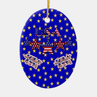 USA Stars Ceramic Ornament