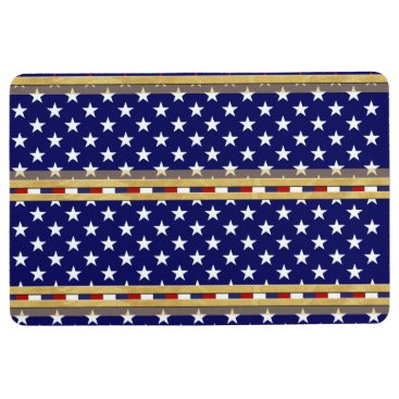 USA Themed USA Stars Gold Blue Floor Mat
