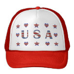 USA  Stars, Stripes & Hearts Patriotic Hat