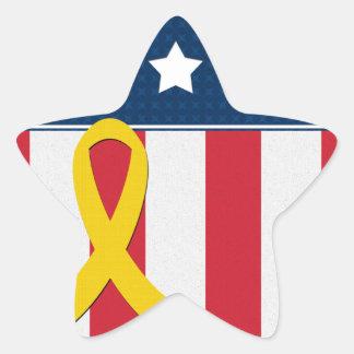 USA Stars Stripes Yellow Ribbon Star Stickers