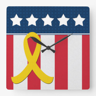 USA Stars Stripes Yellow Ribbon Wall Clock