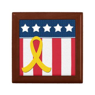 USA Stars Stripes Yellow Ribbon Wooden Jewelry Box