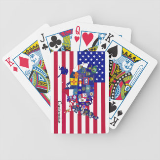 USA State flags map playing cards