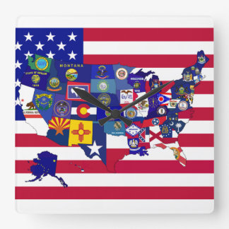 Usa Maps Wall Clocks Zazzle - Us map with state flags