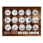 USA State Quarters (Coins) 1999 - 2001 Postcard