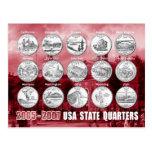 USA State Quarters (Coins) 2005 - 2007 Postcard