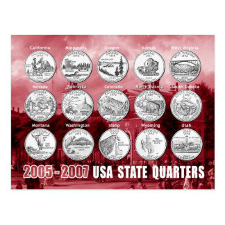USA State Quarters (Coins) 2005 - 2007 Post Cards