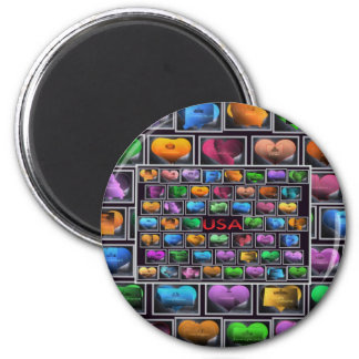 Usa States Collage, Usa States Collage 2 Inch Round Magnet
