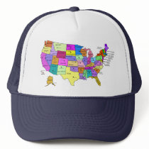 USA states labeled with capitols Trucker Hat