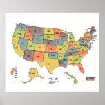 USA States Map Poster