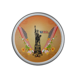 USA Statue of Liberty, flags and flowers Bluetooth Speaker