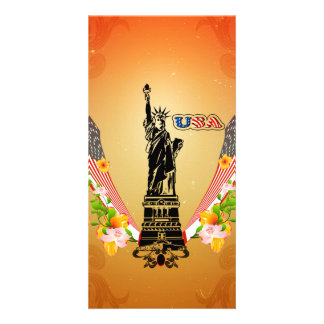 USA Statue of Liberty, flags and flowers Picture Card