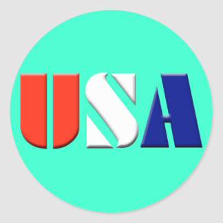 USA Stickers - (aqua)