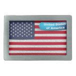 USA Stitched Textile Flag Concept Belt Buckles