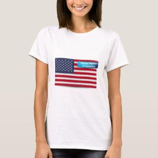 USA Stitched Textile Flag Concept T-Shirt