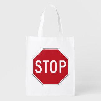 USA Stop Sign Grocery Bag