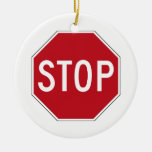 USA Stop Sign Double-Sided Ceramic Round Christmas Ornament