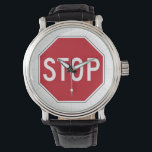 """USA Stop Sign Wrist Watch<br><div class=""""desc"""">A stop sign is a traffic sign to notify drivers that they must stop before proceeding. [Wikipedia]</div>"""