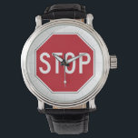 "USA Stop Sign Wrist Watch<br><div class=""desc"">A stop sign is a traffic sign to notify drivers that they must stop before proceeding. [Wikipedia]</div>"