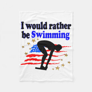 USA SWIMMER DESIGN I WOULD RATHER BE SWIMMING FLEECE BLANKET