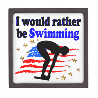 USA SWIMMER DESIGN I WOULD RATHER BE SWIMMING JEWELRY BOX