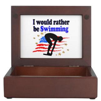 USA SWIMMER DESIGN I WOULD RATHER BE SWIMMING KEEPSAKE BOX