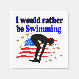 USA SWIMMER DESIGN I WOULD RATHER BE SWIMMING NAPKIN