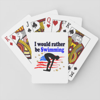 USA SWIMMER DESIGN I WOULD RATHER BE SWIMMING PLAYING CARDS