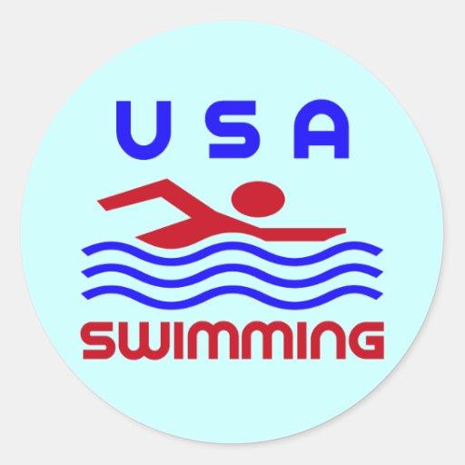 USA SWIMMING CLASSIC ROUND STICKER