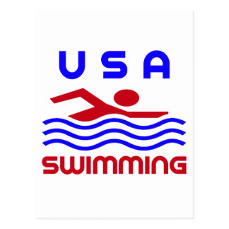 USA SWIMMING POSTCARD