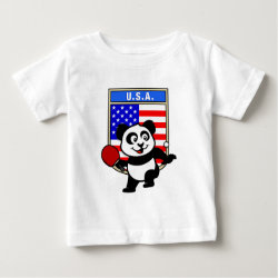 Baby Fine Jersey T-Shirt with USA Table Tennis Panda design