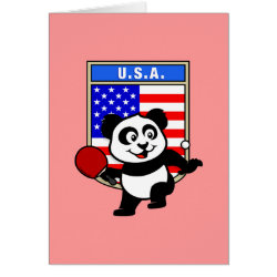 Greeting Card with USA Table Tennis Panda design