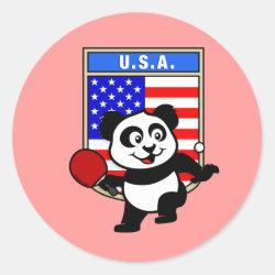 Round Sticker with USA Table Tennis Panda design
