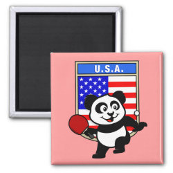 Square Magnet with USA Table Tennis Panda design