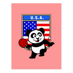 Postcard with USA Table Tennis Panda design