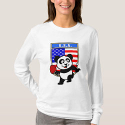 Women's Basic Long Sleeve T-Shirt with USA Table Tennis Panda design