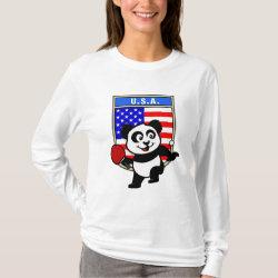 Women's Basic Long Sleeve T-Shirt with USA Table Tennis Panda design