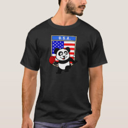 USA Table Tennis Panda Men's Basic Dark T-Shirt