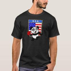 Men's Basic Dark T-Shirt with USA Table Tennis Panda design