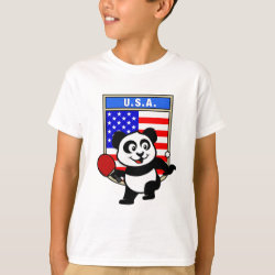 Kids' Hanes TAGLESS® T-Shirt with USA Table Tennis Panda design