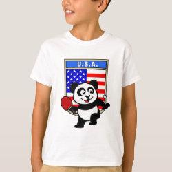 Kids' Hanes TAGLESS® T-Shirt with USA Table Tennis Panda design