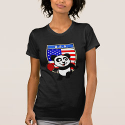 Women's American Apparel Fine Jersey Short Sleeve T-Shirt with USA Table Tennis Panda design