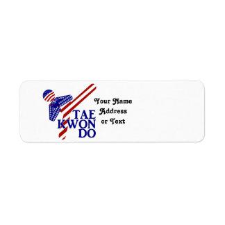 USA Taekwondo Kick (1) Return Address Label