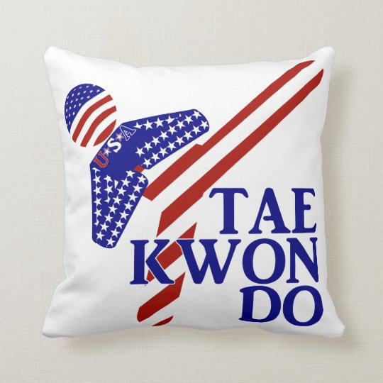 USA Taekwondo Kick (1) Throw Pillow