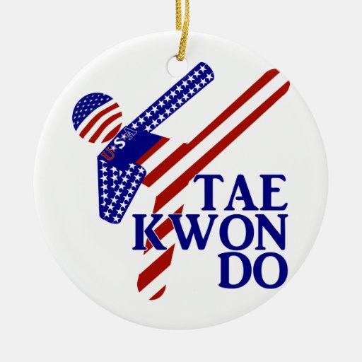 USA Taekwondo Kick (2) Ornaments