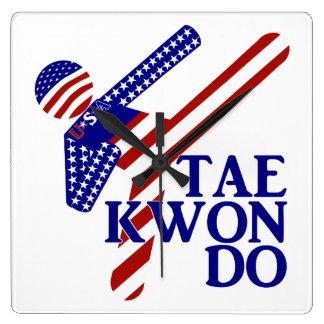 USA Taekwondo Kick (2) Square Wall Clocks