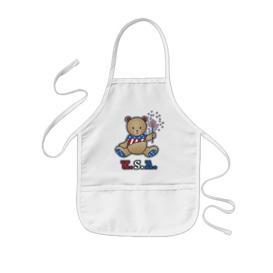 USA Teddy Bear Kid's apron