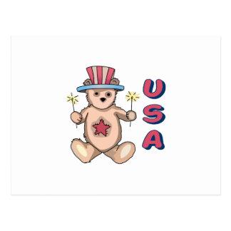 USA Teddy Bear Postcard